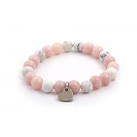 Náramek z kamenů jadeit, howlit MINK05