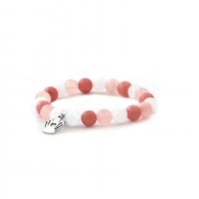 Náramek z kamenů červený jadeit, nefrit MINK07