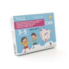 Dětská komunitní maska 3-5 let (5ks/bal.) vzor 5D